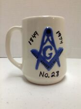 Masonic Freemasonry Vintage Coffee Mug 1974 Lodge #28 Burlington Wisconsin 125th