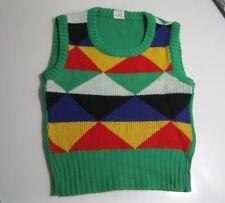 Vintage Kinder Pullunder Org.70er Jahre Jungen Mädchen Pulli ohne Arm Grün Bunt