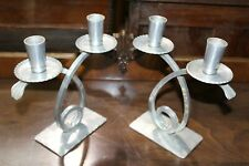Pair of VINTAGE BW BUENILUM Hand Wrought HAMMERED ALUMINUM Double Candle Holder