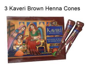 3 Brown Henna paste cones tattoo kit bodyart temporary mehandi kone temp tattoo