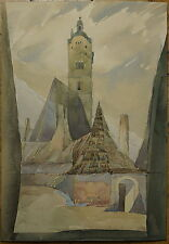 Krems Stein, Frauenbergkirche, Aquarell, um 1920, AW monogrammiert, Wachau