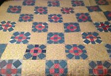 Vtg Antique Multi Color Floral Patchwork 74x84 Quilt Cottage Shabby Chic Blanket