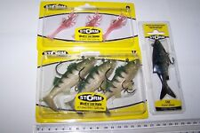 STORM SOFT PLASTIC LURE PACKS x3, WILDEYE SHRIMP, PERCH. + LIVE KICKIN' SHAD.  *