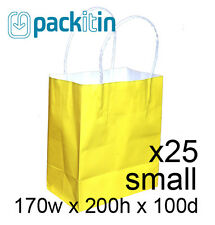 x25 YELLOW paper gift CARRY tote party BAGS with handles - SMALL (170 x 200mm)