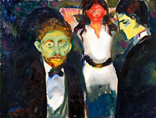 Jealousy by Edvard Munch A1+ High Quality Canvas Art Print