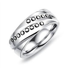 Black Sapphire Sliver Band 8mm Titanium Steel Men's Wedding Party Ring Size 7-11
