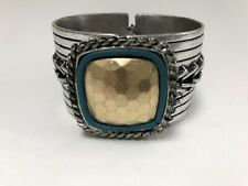 Vintage design Ethnic Cuff Metal Turquoise color hammered Bracelet jewelry
