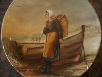 Oil Artist Board Girl Antique Painting 1858 ? Woman Boat Nets Fishing Unknown