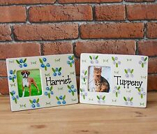 Hand painted personalised ceramic dog puppy cat kitten rose photo picture frame