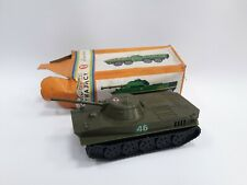 VINTAGE OLD PLASTIC POLAND FRICTION TOY MILITARY TANK + BOX
