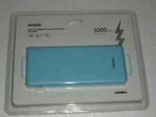 MINISO - Ultra-Thin Metallic - POWER BANK - With Cord - 5,000 mAh - Light Blue