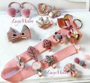 Girls clips hair bands present kids baby shower accessary Handmade designer pink