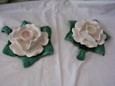 Vtg. Pottery Pink Drip Taper Candlestick Holders Flowers Leaves Florida USA #38