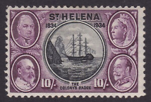St Helena. 1934. SG 123, 10/- black & purple. Mounted mint. Cat £300.