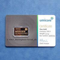 lingots d'OR 2,5g 2.5 grammes UMICORE OR 999,9 Or bar 2.5 G 2,5 g Blister COA