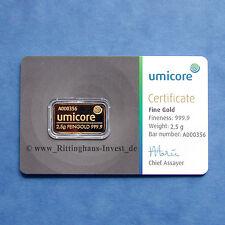 Goldbarren 2,5g 2.5 Gramm Umicore Gold 999,9 gold bar 2.5 g 2,5 g Blister COA