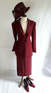 Jacques Vert Burgundy (Wedding) Outfit (Size 14) with shoes & clutch bag