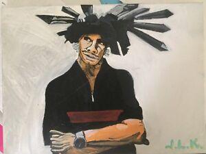 Jamiroquai lead singer Jason Kay - Original 50 cm x 40 cm acrylic painting