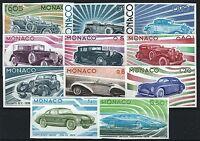 """MONACO YVERT 1018-1028 """" CARS SET ROLLS MERCEDES LAMBORGHINI IMPERF""""MNH VVF M214"""