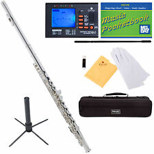 Mendini Silver Plated C Flute 16 Key Close Hole Offset G Split E +Tuner+Stand