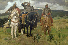 "Warrior Knights. By Victor Vasnetsov. Fine Art Print 20""x28"" New"