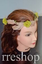 Green Flower and Moccasin Feather with Green Leaves Festival Design Head Band