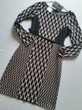 Comma Vestido Jersey Negro Con Cinturón Rosa 38 gr. F40 GB 12 NUEVO