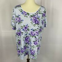 Karen Scott womens top plus size 1X gingham purple floral short sleeves new