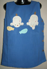 New 100% Cotton Blue Dungaree Pinafore Dress Size Age Small S 4-6 Years