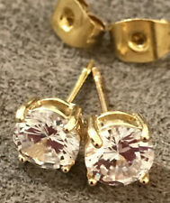 WHITE CUBIC ZIRCONIA 6mm STUD EARRINGS  BRILIANT MADE  18k GOLD PLATED