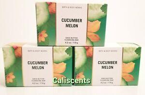 Bath & Body Works CUCUMBER MELON Shea Butter Cleansing Bar Soap 4.2 oz X3 NEW