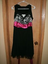 Masquerade 1X Black & Pink with Zebra Print cocktail Party Dress Prom NWT