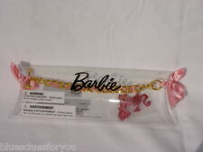 "Barbie Doll Toy Charm Bracelet Gold  Pink 7""  Mattel 2 charms Pretend Play NEW"