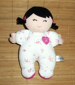Carters My 1st Doll Black Hair Pigtails Floral Sleeper Baby Plush 61192
