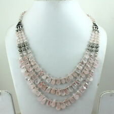BEAUTIFUL NECKLACE NATURAL PINK ROSE QUARTZ GEMSTONE BEADED 56 GRAMS