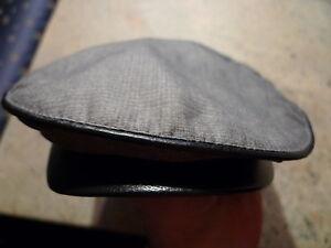 JOHN VARVATOS USA GREY PLAID COTTON / LEATHER DETAIL MEN'S CAP SIZE APRX M-L