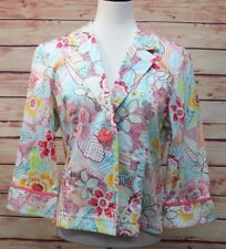 600 West Womens Jacket Multi-Color Floral 3/4 Sleeve Stretch Button Front