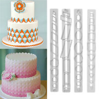 4pcs Geometry Plastic Sugarcraft Cookie Cutter Fondant Cake Mold Biscuits Mould