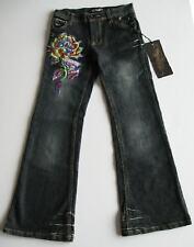 Ed Hardy Girls Rhinestone Skull Rose Love Jeans (10) NWT