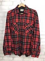Vintage Fieldmaster Buffalo Red Black Plaid Flannel Shirt Wool Blend Men's XL