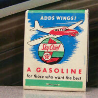 Vintage Matchbook M6 Kirkland Washington Blau's Texaco Sky Chief Car Airplane