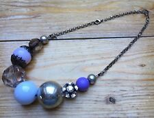 Chunky Beaded Bobble Bead Necklace/Purple/Eclectic/Big Statement/Rhinestone