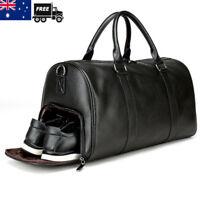 Mens Black Gym Duffel Shoulder Bag Travel Overnight Luggage Large Soft Handbag