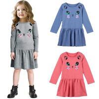 New Toddler Baby Kids Girls Cat Print Spring Long Sleeve Casual Tunic Mini Dress