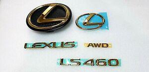 FITS New Lexus LS460 AWD Complete Emblem FF RR Trunk Kit Word Gold 2010 2011 12