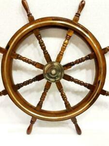 "36"" Nautical Marine Wooden Steering Ship Wheel Brass Ring Pirate Captain Ship"