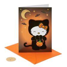 Hello Kitty Papyrus Halloween Card with Jewel Bow & Velvet Costume Bats & Moon