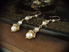 Vintage Baroque Pearl, Matt Seed Beads Long Drop Earrings. Haskell Style
