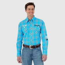 Wrangler Mens 20X Logo Turquoise Western Snap Embroidered Shirt *NWT* XXL