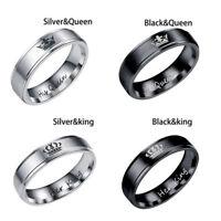 Pareja anillos su reina su rey titanio anillos de acero accesorios de la joye KY